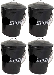 Bird Seed Storage Containers 6.5 Gallon Black Set of 4