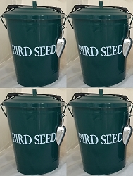 Bird Seed Storage Containers 6.5 Gallon Dark Green Set of 4