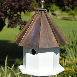 Oct-Avian Bird House Brown Patina