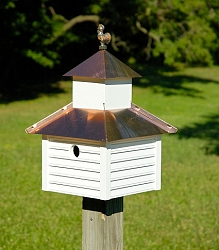 Rusty Rooster Bird House White