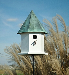 Copper Songbird Deluxe Bird House White w/Verdigris Roof