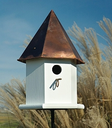 Copper Songbird Deluxe Bird House White w/Brown Patina Roof