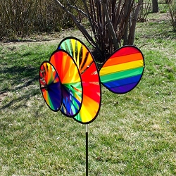 Rainbow Triple Wheel Spinner with  Wind Sail