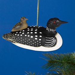 Cobane Studio Loon with Baby Blown Glass Ornament