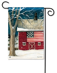 Winter Barn Garden Flag
