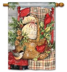 Front Porch Christmas House Flag