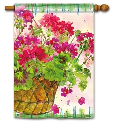 Geranium Basket House Flag