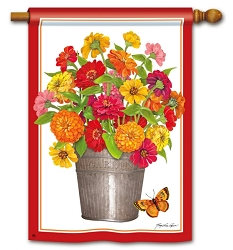 Mixed Zinnias House Flag