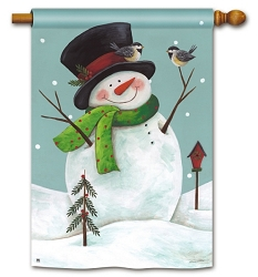 Woodland Snowman House Flag