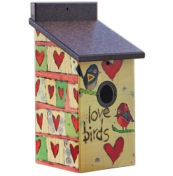 Painted Peace Love Birds Birdhouse