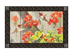 Hummingbirds with Geraniums MatMate Doormat