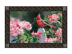 Cardinal with Variegated Roses MatMate Doormat