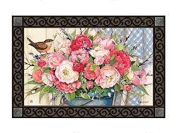 Bucket Full of Peonies MatMate Doormat