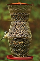 NO/NO Red & Brass 3 Tier Super Bird Feeder