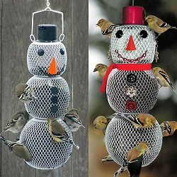 NO/NO Mr. and Mrs. Snow Man Bird Feeder Pair