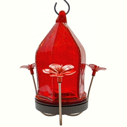 Straight Jewel Bottom Fill Hummingbird Feeder Red Crackled