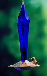 Faceted Glass Hummingbird Feeder Cobalt Blue