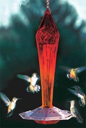 Faceted Glass Hummingbird Feeder Ruby