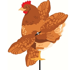 Buff Chicken Whirligig Wind Spinner