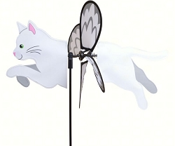 Petite White Cat Wind Spinner