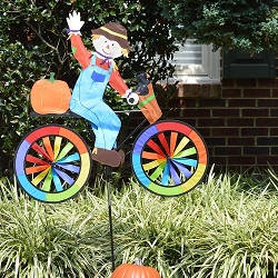 Scarecrow Bicycle Wind Spinner Large