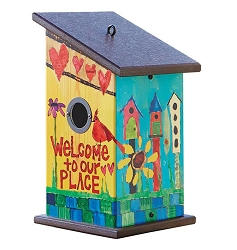 Painted Peace Welcome To Our Place Birdhouse