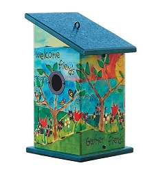 Painted Peace Gather Friends Birdhouse