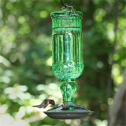 Elegant Antique Glass Bottle Hummingbird Feeder Green 24oz