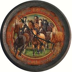 Vintage Tin Wall Clock Running Horses