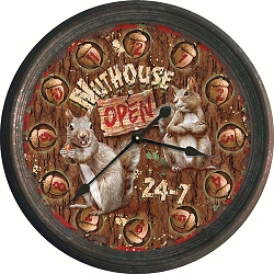 Vintage Tin Wall Clock Nut House