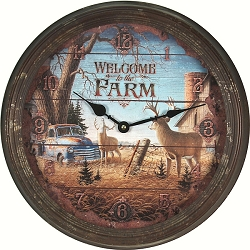 Vintage Tin Wall Clock Welcome to the Farm