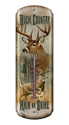 Tin Thermometer Buck Country
