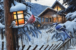 Winter Cabin Birds LED Wall Art 24