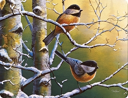 Tempered Glass Cutting Board Chickadees