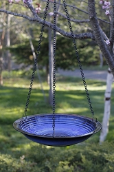 Alcyon Circles Hanging Bird Bath Cobalt Blue