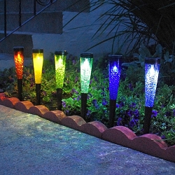 Solar Crackle Glass Sparkle Cones Set of 6