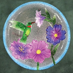 Hummingbird Embossed Glass Birdbath