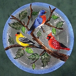 Songbird Trio Embossed Glass Birdbath Bowl