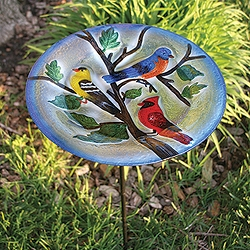 Songbird Trio Embossed Glass Birdbath Staked