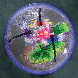 Dragonfly Trio Embossed Glass Birdbath Bowl