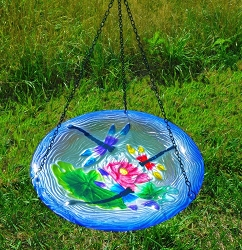 Dragonfly Trio Embossed Hanging Glass Birdbath
