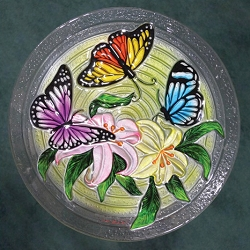 Butterfly Trio Embossed Glass Birdbath Bowl