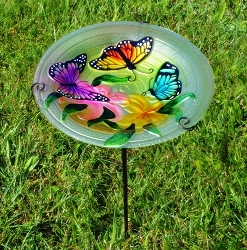 Butterfly Trio Embossed Glass Birdbath Staked