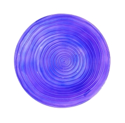 Purple Swirl Embossed Glass Birdbath Bowl