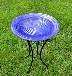 Purple Swirl Embossed Glass Birdbath with Stand