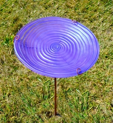 Purple Swirl Embossed Glass Birdbath Staked