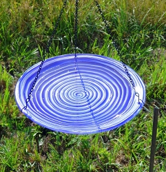 Purple Swirl Hanging Glass Birdbath