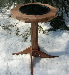 Double Cedar Ring Heated Bird Bath with Stand