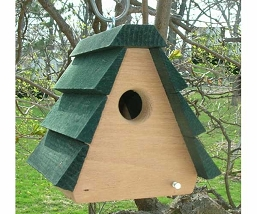 Wren A-Frame Bird House Green Roof