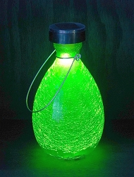 Solar Crackle Glass Teardrop Lantern Fern Green Set of 2